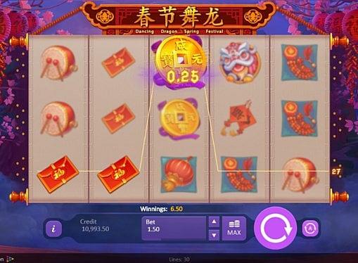 Выигрышная комбинация на линии в автомате Dancing Dragon Spring Festival