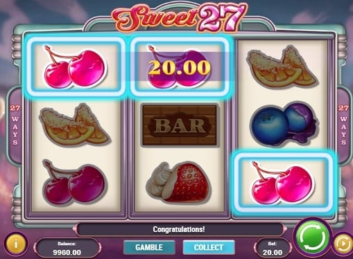 Выигрышная комбинация на линии в автомате Sweet 27