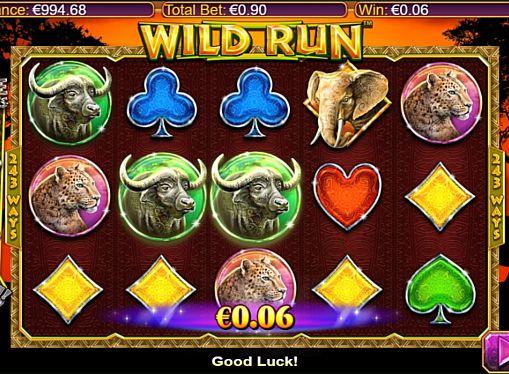 Выигрышная комбинация символов в автомате Wild Run