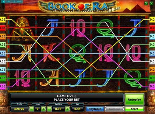 Выигрышные линии онлайн слота Book of Ra Deluxe