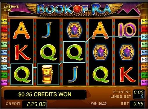 Выигрышная комбинация на онлайн слоте Book of Ra