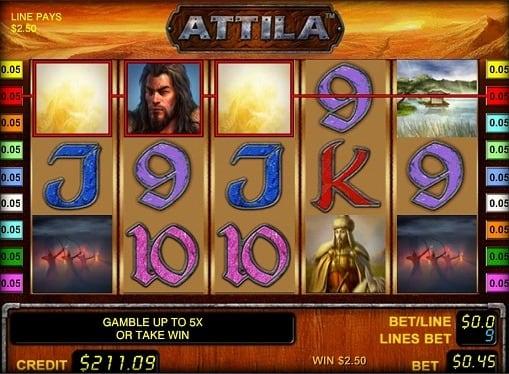 Выигрышная комбинация в онлайн игровом автомате Attila
