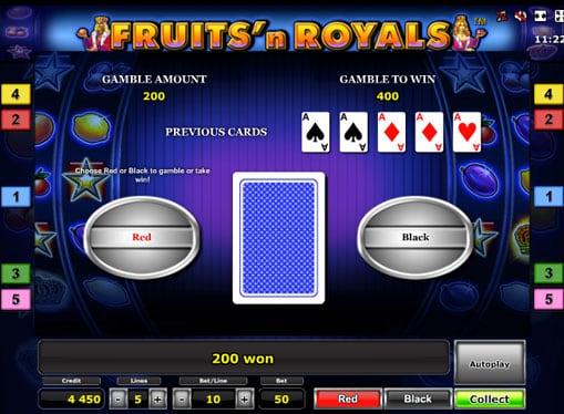 Риск игра на аппарате Fruits'n Royals Deluxe