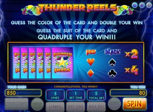 Игра на удвоение в автомат Thunder Reels
