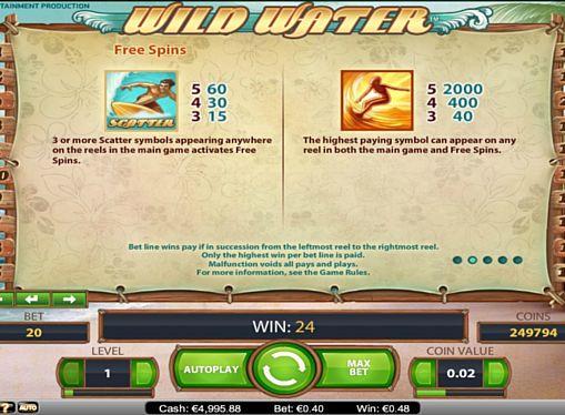 Правила фриспинов в игре Wild Water