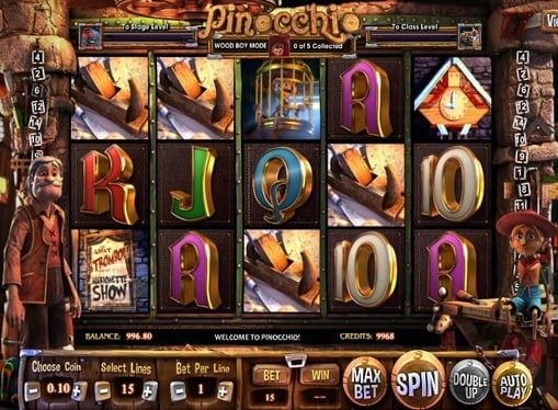 Комбинация символов в игровом автомате Pinocchio