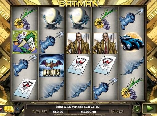 Комбинация символов в игровом автомате Batman