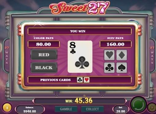 Раунд на умножение в игровом аппарате Sweet 27