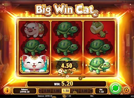 Призовая комбинация символов в игровом автомате Big Win Cat