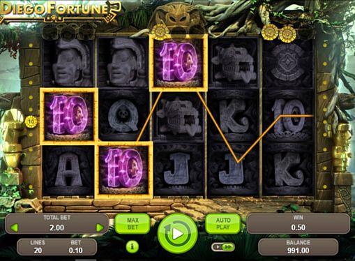 Призовая комбинация на линии в игровом автомате Diego Fortune