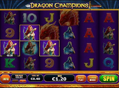 Призовая комбинация на линии в игровом автомате Dragon Champions