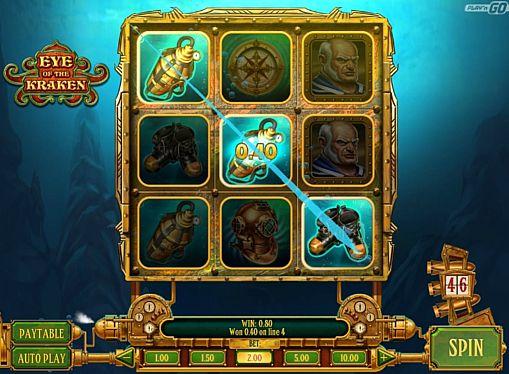 Призовая комбинация на линии в игровом автомате Eye of the Kraken