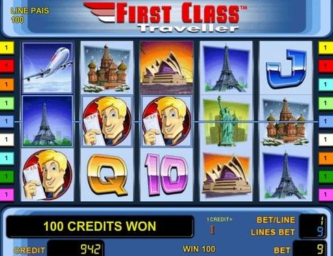 Призовая комбинация с Wild в игровом автомате First Class Traveller