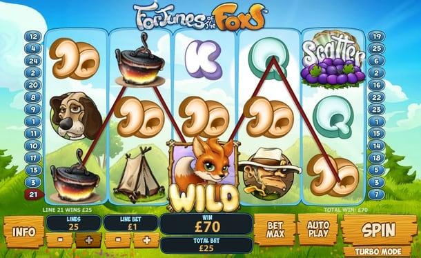 Призовая комбинация с Wild в игровом автомате Fortunes of the Fox