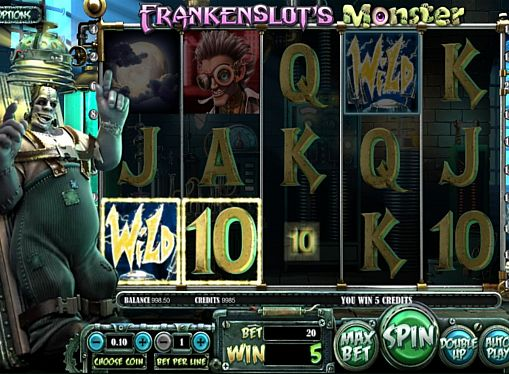 Призовая комбинация на линии в игровом автомате Frankenslot's Monster