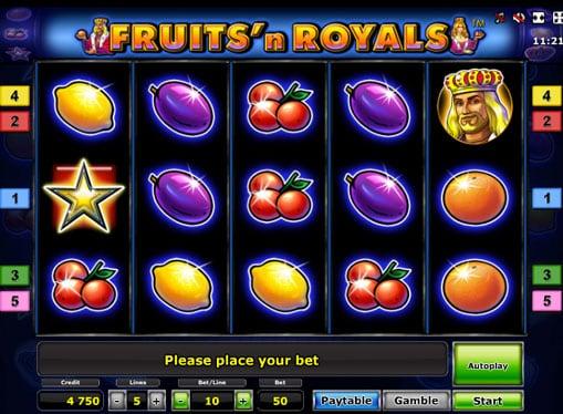 Символы игрового автомата Fruits'n Royals Deluxe