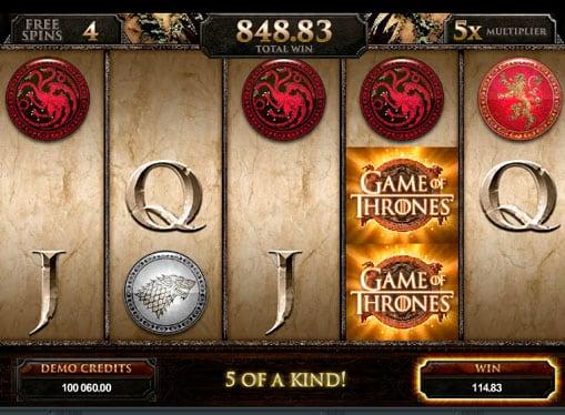 Выпадение бонусов в игровом автомате Game of Thrones