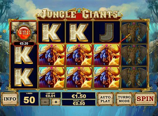 Призовая комбинация на линии в игровом автомате Jungle Giants