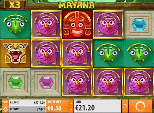 Призовая кобинация символов в игровом автомате Mayana