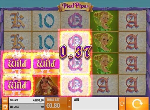 Призовая комбинация с диким знаком в игровом автомате Pied Piper