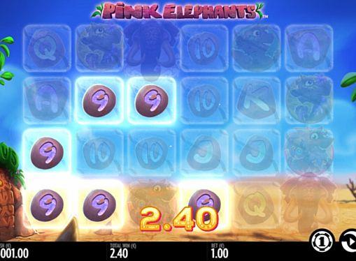 Призовая комбинация символов в игровом автомате Pink Elephants