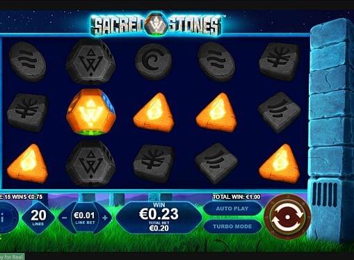 Призовая комбинация с диким знаком в игровом автомате Sacred Stones