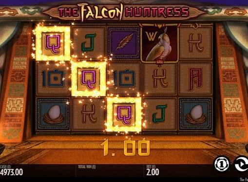 Призовая комбинация на линии в игровом автомате The Falcon Huntress