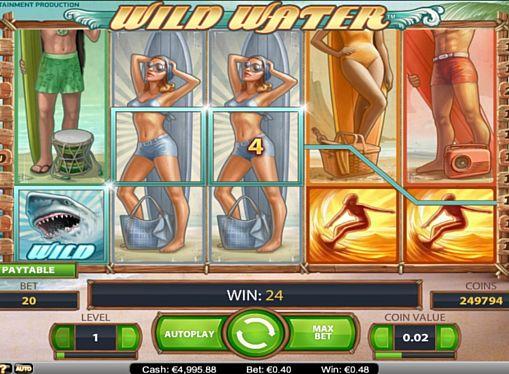 Призовая комбинация на линии в игровом автомате Wild Water