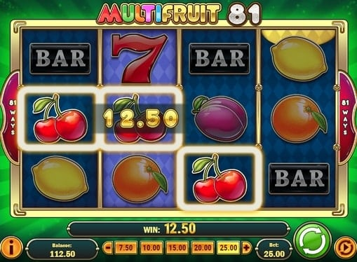 Комбинация вишенок в игровом автомате Multifruit 81