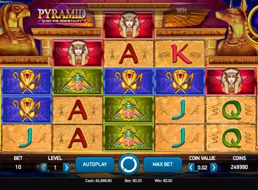 Выигрышная комбинация на онлайн автомате Pyramid: Quest for Immortality