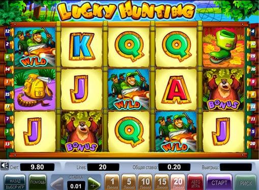 Дикие символы и бонусы в автомате Lucky Hunting