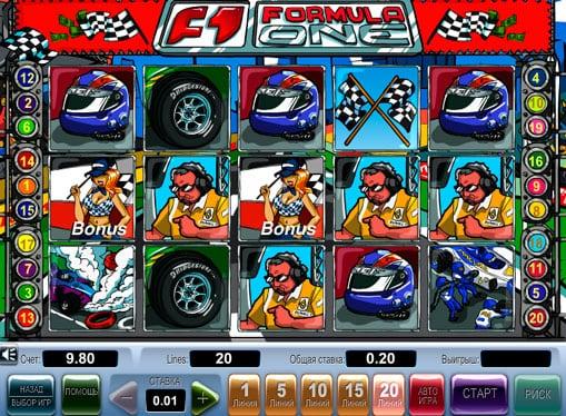 Бонусы и символы в онлайн аппарате Formula 1