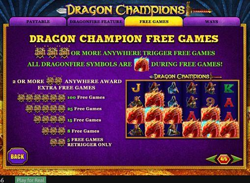 Правила фриспинов в онлайн слоте Dragon Champions