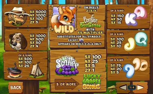 Таблица выплат в онлайн слоте Fortunes of the Fox