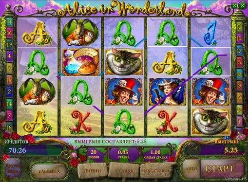 Призовая комбинация аппарата Alice in Wonderland