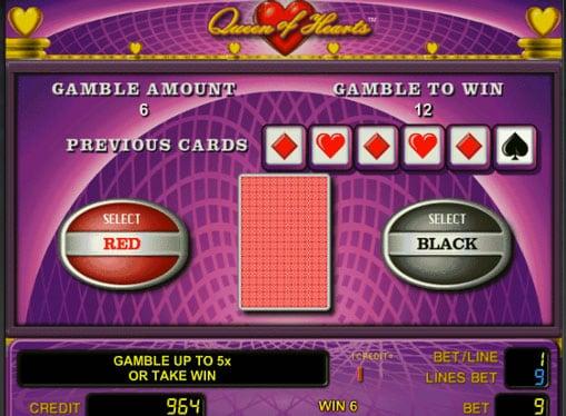 Риск игра в автомате Queen of Hearts
