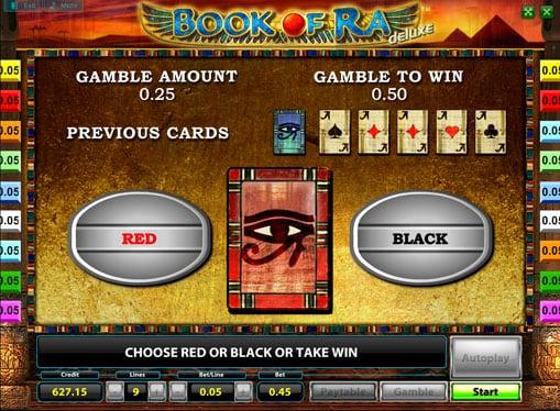 Риск игра на аппарате Book of Ra deluxe