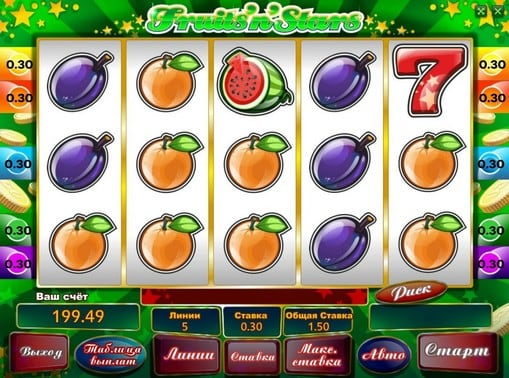 Комбинация символов в онлайн автомате Fruits'n'Stars