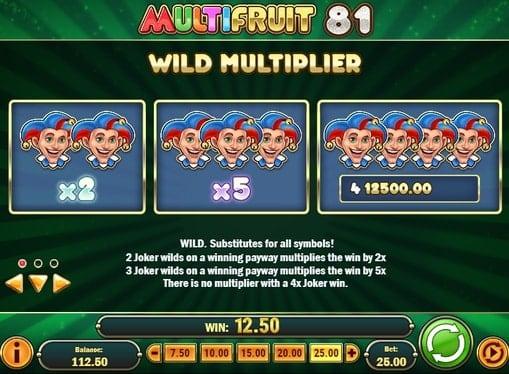 Описание символа Wild в слоте Multifruit 81