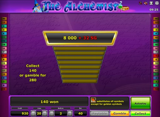 Бонусная игра в автомате The Alchemist