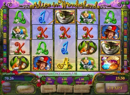 Выигрыш на автомате Alice in Wonderland