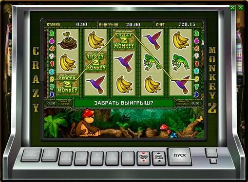 Выпадение бонусной игры в слоте Crazy Monkey 2